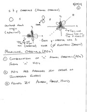 Weaver Fall 2014 CHM 2210 Organic Chemistry 1 Lecture 3 Notes - Molecular Orbitals