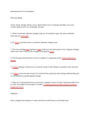 Intermolecular Forces Worksheet - Intermolecular Forces ...