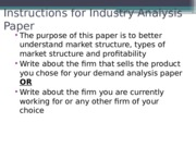 ECON 525 Fall 15 Industry analysis instructions - Gandonou