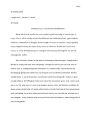 Classification and Definiton summary essay