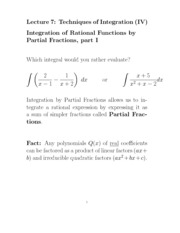 L7 Integrating Rational Functions by Partial Fractions