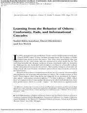 week 3 Bikhchandani, S., Hirshleifer, D., & Welch, I. (1998) Learning from the behavior of others Co