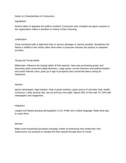 Notes on Characteristics of Consumers