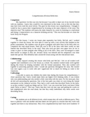 Fiction Comprehension Reflection