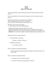Bioethics Lecture 10 - Right to Die - Philosophy - OUTLINE (1).doc