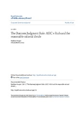 The Business Judgment Rule- ASIC v Rich