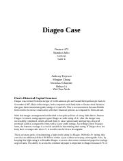 HBS Case Diageo Plc   University Business and Administrative     Marked by Teachers