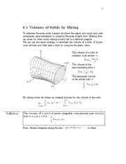 6.1 Volumes of Solids by Slicing