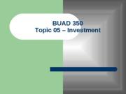 Topic 05 - Investment