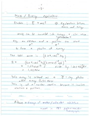 CHE 170 Mass Energy Equivalence Notes