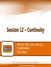 MIS 6311-501 Session 12 - Continuity.pdf
