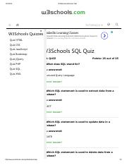 W3Schools SQL Quiz Test Results