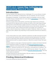 1.2.1 - Lesson Map - Gathering and Interpreting Historical Sources
