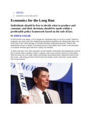 Economics for the Long Run