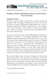 Kashf ush-Shubuhaat - The Removal of the Doubts (The Tenth Study)