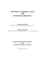 Soil Science Competency Performace Objectives