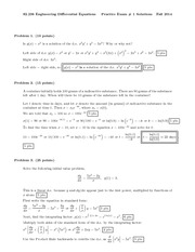 Exam A Solutions on Engineering Differential Equations