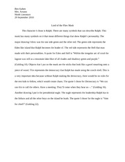 lord of the flies mask paragraph