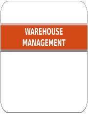 Lecture 6 Warehouse management 2016