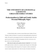 cafs 123 Personal Philosophy Paper
