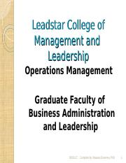 Operations Management Ppt - Leadstar College of Management and