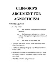 Clifford's arguments notes