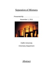 Lab Report: Separation of Mixtures