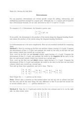 MATH 211 Determinants Notes