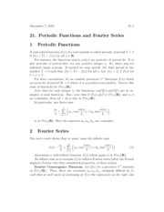 Periodic Functions and Fourier Series Notes