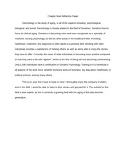Chapter Nine (Gerntology) Reflection Paper