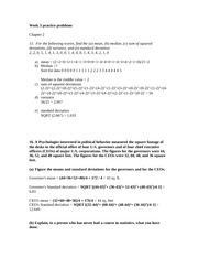 PSY 315 Week 3 Ch.2 and Ch.3 Practice Problems Solutions