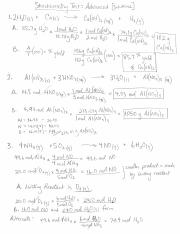 Advanced test solutions stoichiometry