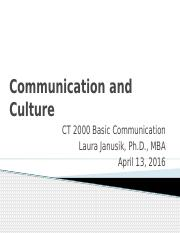 04 13 32016  CT 2000 Chapter 3 Communication and Cultures
