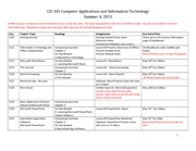 CIS105 Assignment schedule