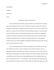Obsevational interview full essay