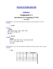 Introduction to Computing - CS101 Special 2007 Assignment 02 Solution.doc