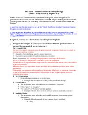 PSY3213C - Study Guide 2 (Chapters 6, 7, and 8). Research methods.docx