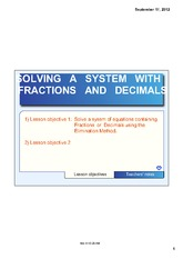 SOLVING A SYSTEM WITH FRACTIONS OR DECIMALS NOTE