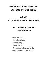 DBA-302 - Business Law -II Cause Outline