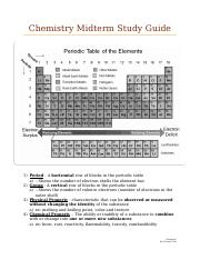 Chemistry Midterm Study Guide