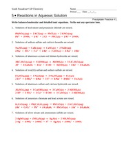 Worksheets Reactions In Aqueous Solutions Worksheet reactions in aqueous solution answers fe 2 s 3 so 4 6