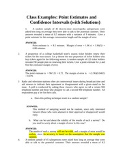 point estimates Confidence intervals with solution