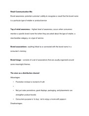 Retail Communication Mix - notes