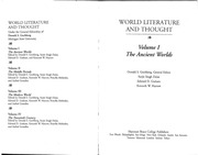 World Literature and Thought - Volume I - The Ancient Worlds