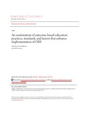 An examination of outcome-based education practices standards a