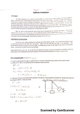 PHY2053L Physics 1 Lab (Algebra), Ballistic Pendulum Lab With Answers