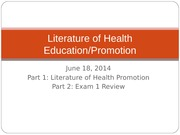 2014 06 18 Literature of Health Promotion
