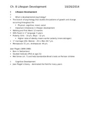Ch. 8 Outline Lifespan Development