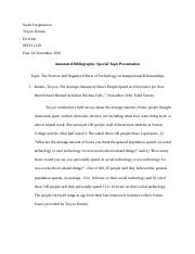 Special Topic Annotated Bibliography