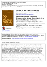 Psychopathological predictors characterizing sexual compulsivity in a nonclinical sample of women